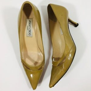 Jimmy Choo Nude Patent Leather Pointy Toe Heels